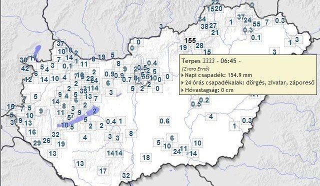 Megdőlt az országos napi csapadékrekord – 154.9 mm hullott a Heves megyei Terpesen